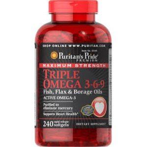 Minyak Ikan Puritan's Pride Maximum Strength Triple Omega 3-6-9 Fish, Flax & Borage