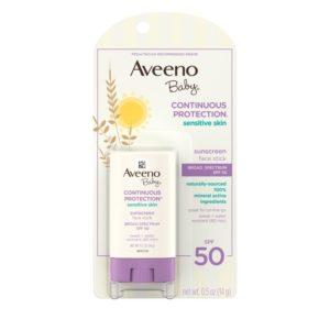 Johnson & Johnson Aveeno Baby Continuous Protection Sensitive Skin Face Stick